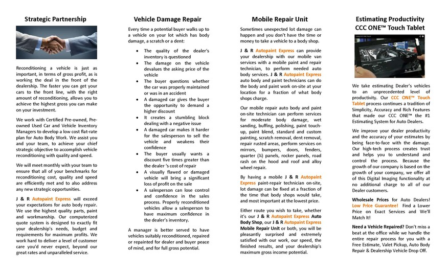 auto body repair manassas va dealer brochure